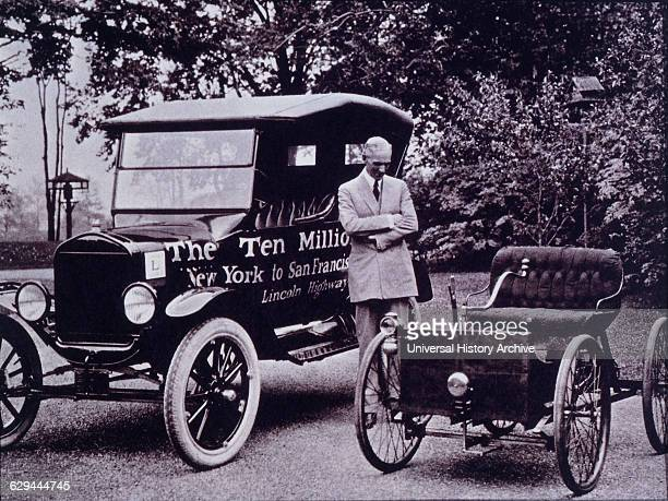 Henry Ford With his First Auto the Quadricycle and the Ten Millionth Ford Model T 1933