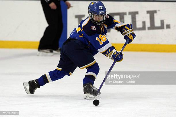 Henry Foster in action during the Mid Fairfield Yankees Pee Wee Major Ice Hockey team against the Philadelphia Junior Flyers at Chelsea Piers Ice...