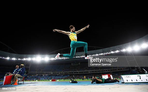 Henry Frayne of Australia competes in the Men's Long Jump Qualifying Round on Day 7 of the Rio 2016 Olympic Games at the Olympic Stadium on August...