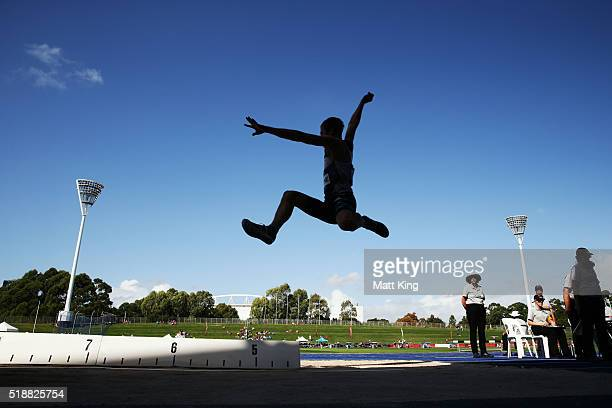 Henry Frayne of Queensland competes in the Men's long jump final during the Australian Athletics Championships at Sydney Olympic Park on April 3,...