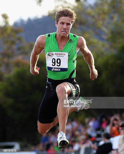 Henry Frayne of the QAS competes in the Mens Triple Jump Open during the Briggs Athletics Classic at the Domain Athletics Track on February 4 2012 in...