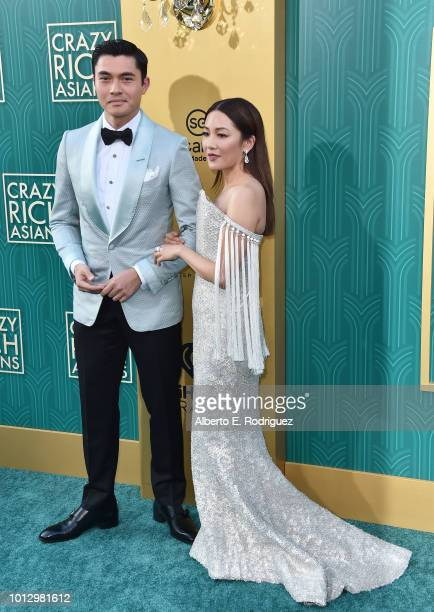 """Henry Golding and Constance Wu attend the premiere of Warner Bros. Pictures' """"Crazy Rich Asiaans"""" at TCL Chinese Theatre IMAX on August 7, 2018 in..."""