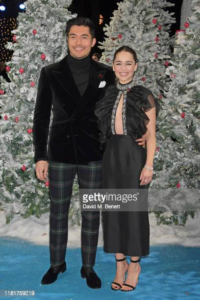 Henry Golding and Emilia Clarke attend the UK Premiere of Last Christmas at the BFI Southbank on November 11 2019 in London England