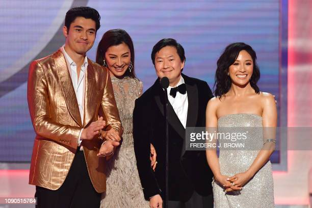 Henry Golding Michelle Yeoh Ken Jeong and Constance Wu from the film 'Crazy Rich Asians' onstage during the 25th Annual Screen Actors Guild Awards...