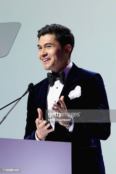 Henry Golding speaks onstage at the 2019 Fragrance Foundation Awards at David H. Koch Theater at Lincoln Center on June 05, 2019 in New York City.