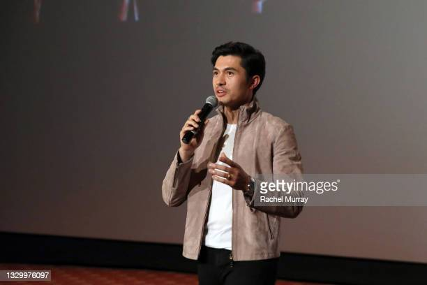 Henry Golding speaks onstage during the Comic-Con Fans First Los Angeles Screening 'Snake Eyes: G.I. Joe Origins' at TCL Chinese Theatre on July 21,...