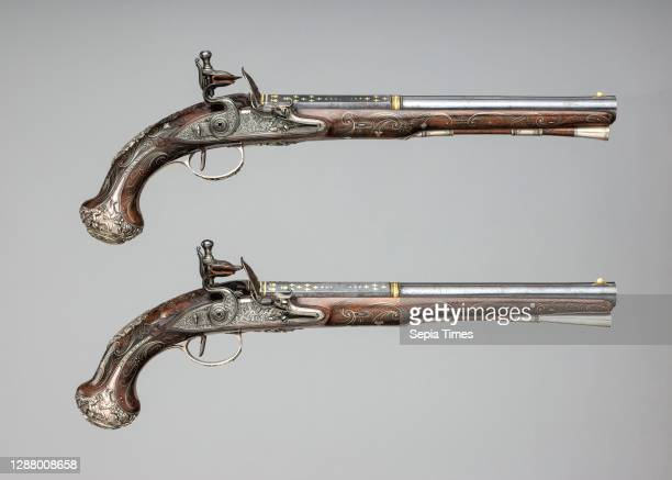 Henry Hadley, Pair of Flintlock Pistols with Square-Drive Key, British, London, ca. 1765, Steel, wood , silver, gold, copper alloy, Each pistol: L....