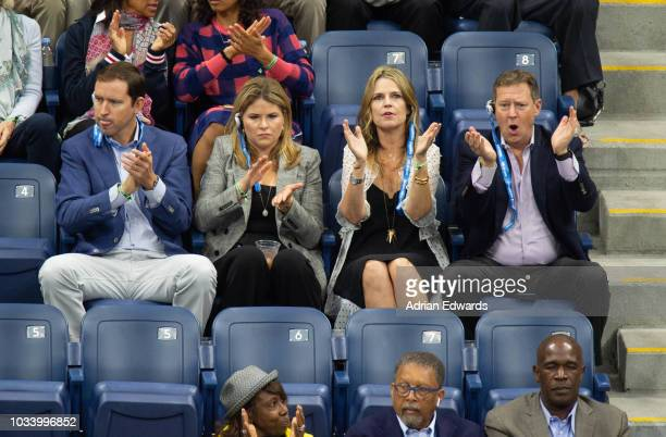 Henry Hager Jenna Bush Hager Savannah Gutherie Michael Feldman at Day 14 of the US Open held at the USTA Tennis Center on September 9 2018 in New...