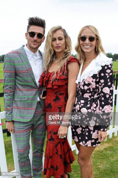 Henry Holland Alice Dellal and Harley VieraNewton attend the Cartier Queen's Cup Polo Final at Guards Polo Club on June 17 2018 in Egham England