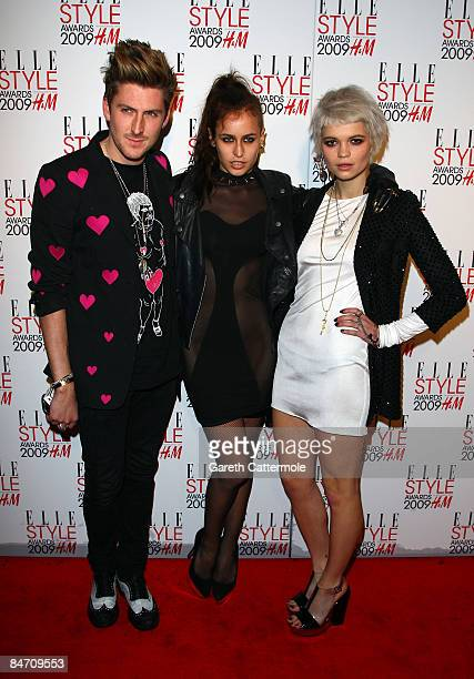 Henry Holland Alice Dellal and Pixie Geldof arrive at the Elle Style Awards 2009 held at Big Sky Studios Caledonian Road on February 9 2009 in London...
