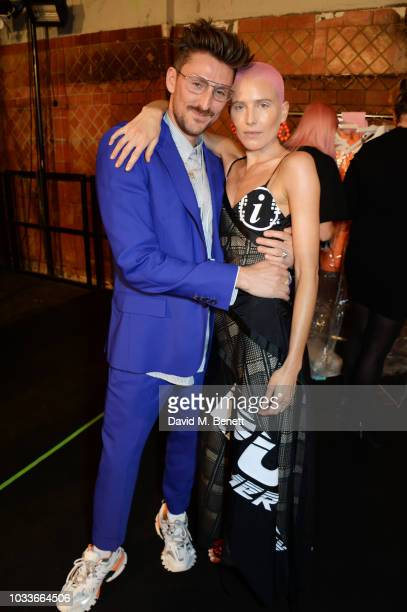 Henry Holland and Dree Hemingway attend the House Of Holland front row during London Fashion Week September 2018 at the My Beautiful City Show Space...