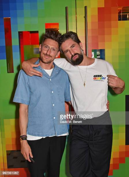 Henry Holland and Jack Guinness attend the PRIDE celebrations with the unveiling of Spectrum Cube at The London EDITION with an installation by Gary...