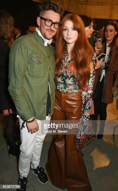 Henry Holland and Nicola Roberts pose backstage at the House of Holland show during the London Fashion Week February 2017 collections on February 18...