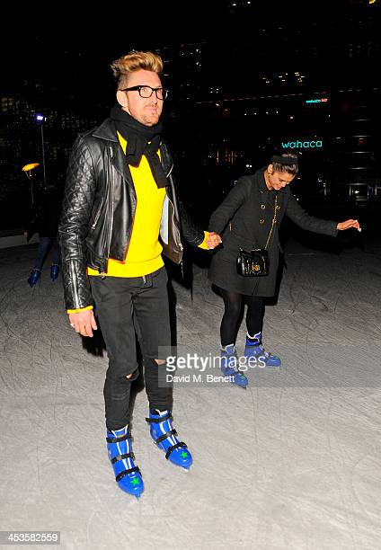 Henry Holland and Pixie Geldof skate at the Heineken Design Night VIP Lounge celebrating the launch of the Heineken Club Bottle at the Canary Wharf...