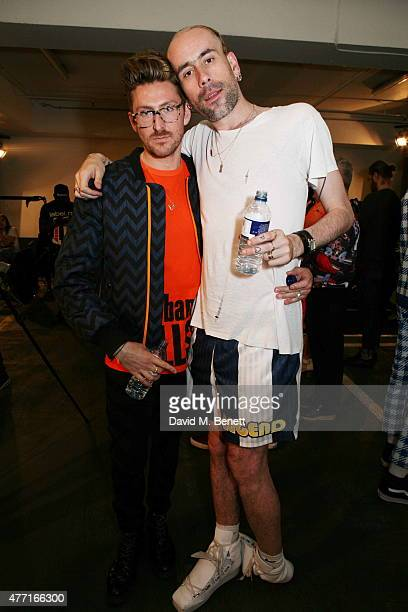 Henry Holland and Richard Sloan attend the House of Holland presentation during London Collections Men SS16 on June 14, 2015 in London, England.