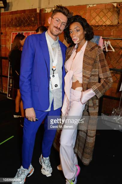 Henry Holland and Winnie Harlow attend the House Of Holland front row during London Fashion Week September 2018 at the My Beautiful City Show Space...