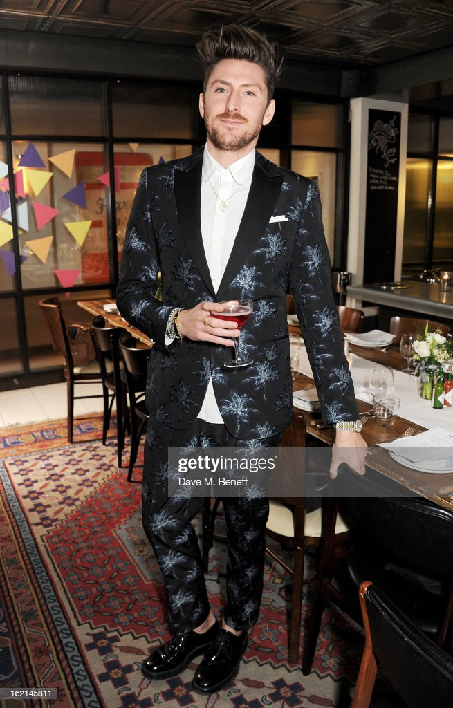 Henry Holland attends as Nick Grimshaw hosts his first annual award season dinner at Hix, in association with Philips Sound, on February 19, 2013 in London, England.