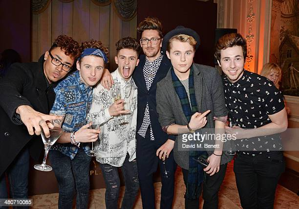 Henry Holland poses with JJ Thompson Joe 'Connor' Conaboy Matt Cahill Josh Zare and Jay Scott of Kingsland Road attend a party to celebrate 25 years...
