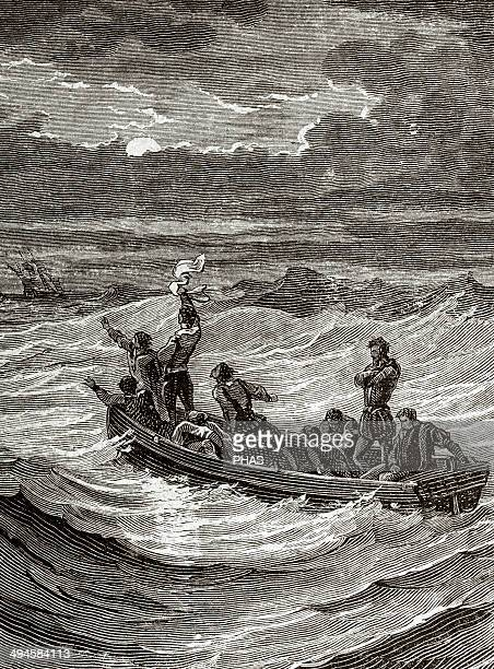 Henry Hudson English navigator and Arctic explorer Hudson abandoned by his crew Engraving by Charles Barbant