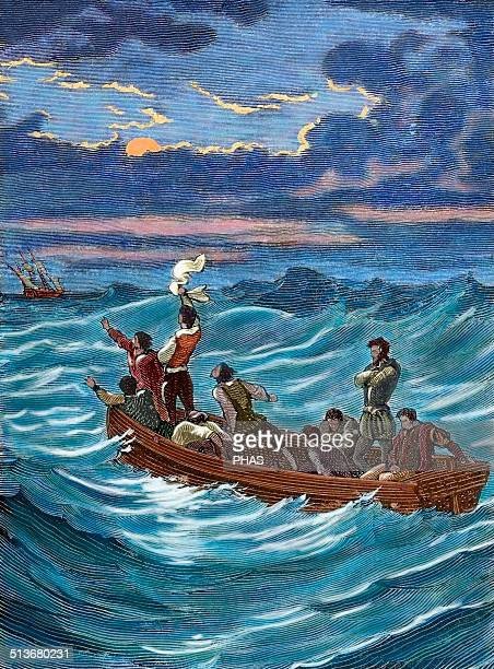 Henry Hudson English navigator and Arctic explorer Hudson abandoned by his crew Engraving by Charles Barbant Colored