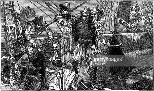Henry Hudson English navigator being set adrift with son and seven others by mutinous crew Never seen again Wood engraving c1880