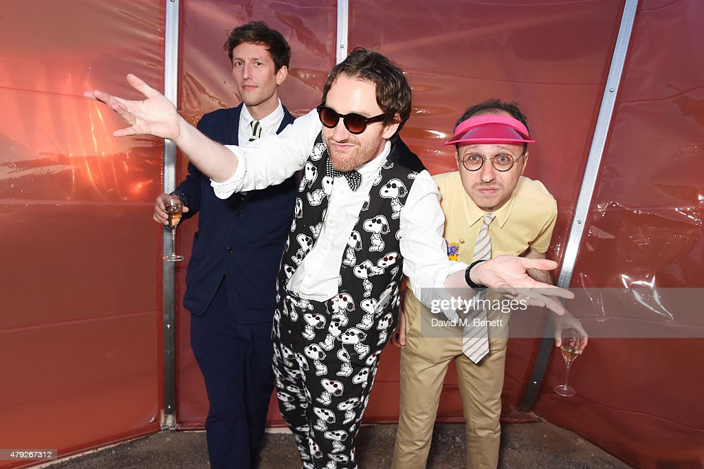 Henry Hudson, Philip Colbert and Nimrod Kamer attend The Serpentine Gallery summer party at The Serpentine Gallery on July 2, 2015 in London, England.