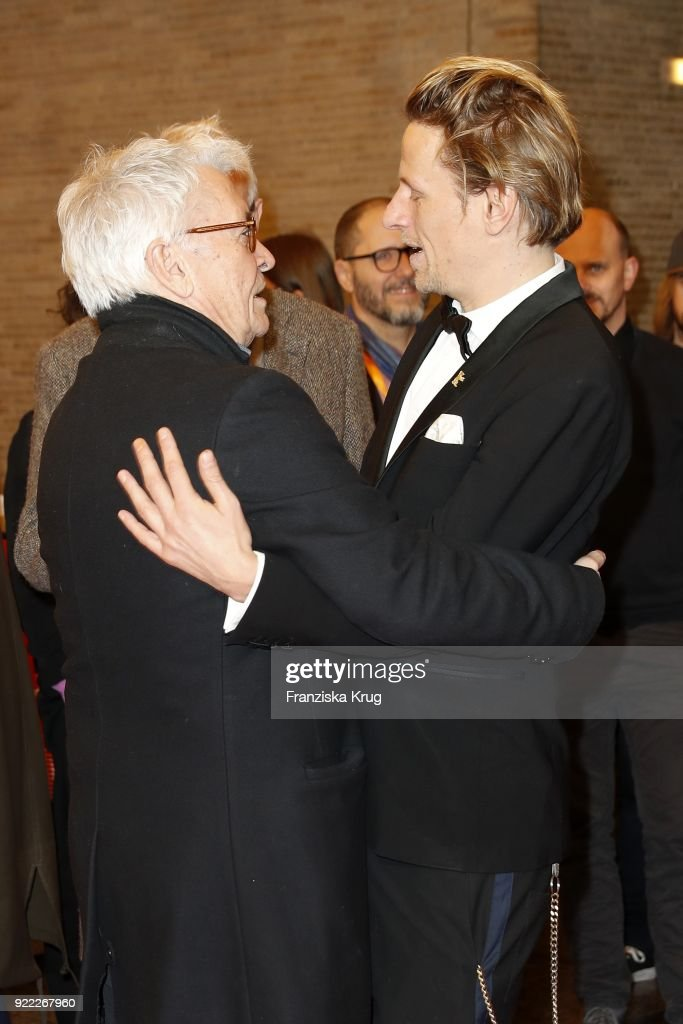 Henry Huebchen and Alexander Scheer attend the 'Partisan' premiere during the 68th Berlinale International Film Festival Berlin at Kino International on February 21, 2018 in Berlin, Germany.