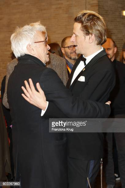 Henry Huebchen and Alexander Scheer attend the 'Partisan' premiere during the 68th Berlinale International Film Festival Berlin at Kino International...