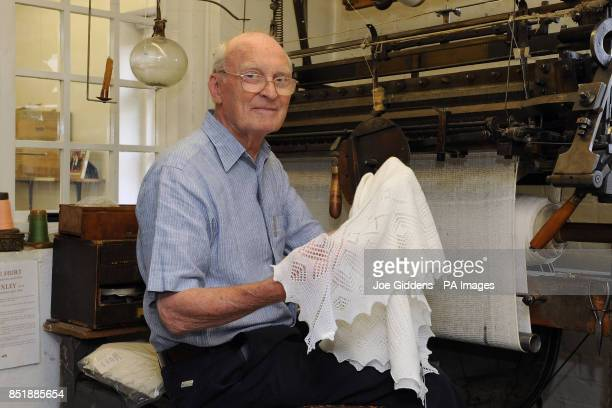 Henry Hurt managing director of GH Hurt Son based in Chilwell Nottingham with a superfine merino wool christening shawl as worn by Prince George of...