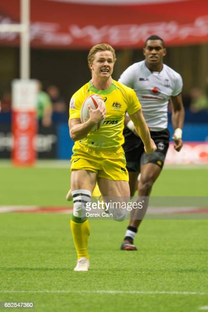 Henry Hutchinson of Australia runs with the ball against Fiji during day 2 of the 2017 Canada Sevens Rugby Tournament on March 12 2017 in Vancouver...