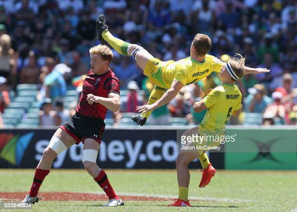 Henry Hutchison of Australia during the Cup Quarter Final match betweenWales and Australia in the 2017 HSBC Sydney Sevens at Allianz Stadium on...