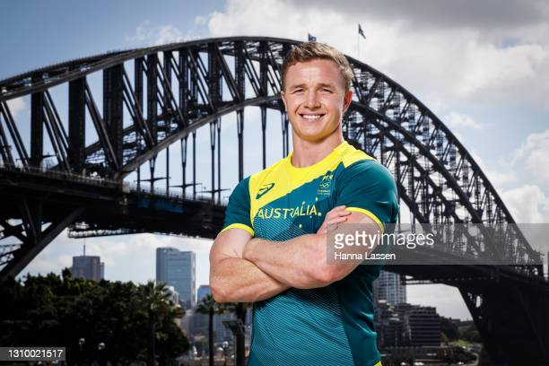 Henry Hutchison poses during the Australian Olympic Team Tokyo 2020 uniform unveiling at the Overseas Passenger Terminal on March 31, 2021 in Sydney,...