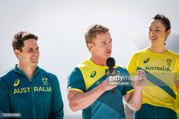 Henry Hutchison speaks during the Australian Olympic Team Tokyo 2020 uniform unveiling at the Overseas Passenger Terminal on March 31, 2021 in...