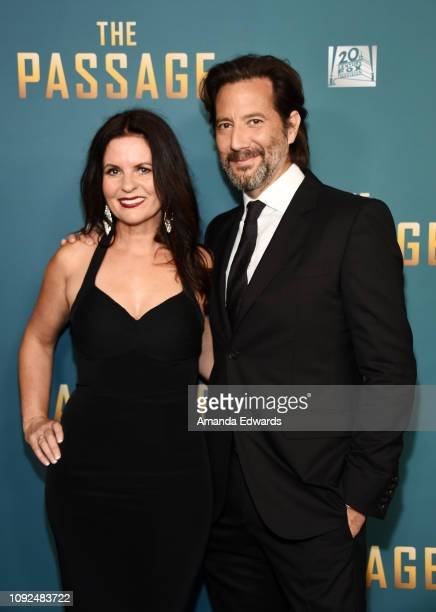 Henry Ian Cusick and Annie Cusick Wood arrive at FOX's 'The Passage' Premiere Party at The Broad Stage on January 10 2019 in Santa Monica California