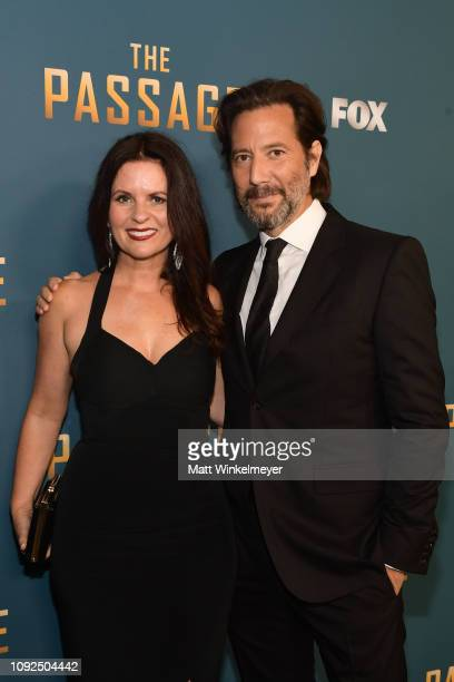 Henry Ian Cusick and Annie Cusick Wood attends Fox's 'The Passage premiere party at The Broad Stage on January 10 2019 in Santa Monica California