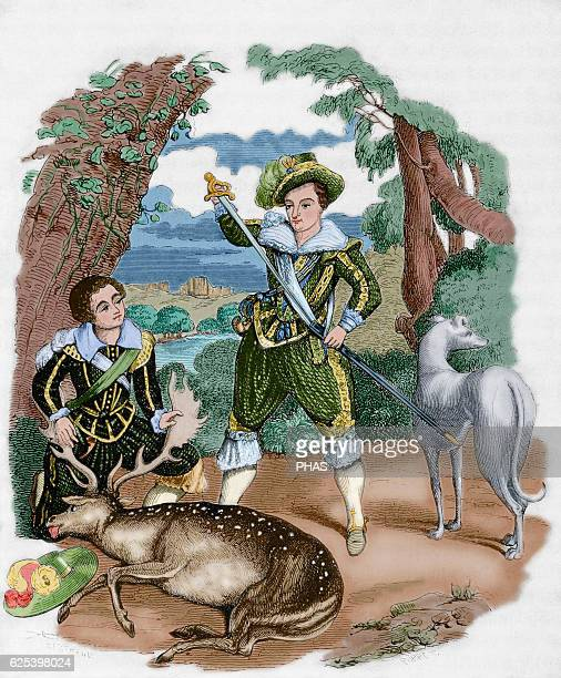 Henry III King of England Lord Harrington with Prince Henry the future king of England during a hunt Engraving after a painting of Count Guildford...