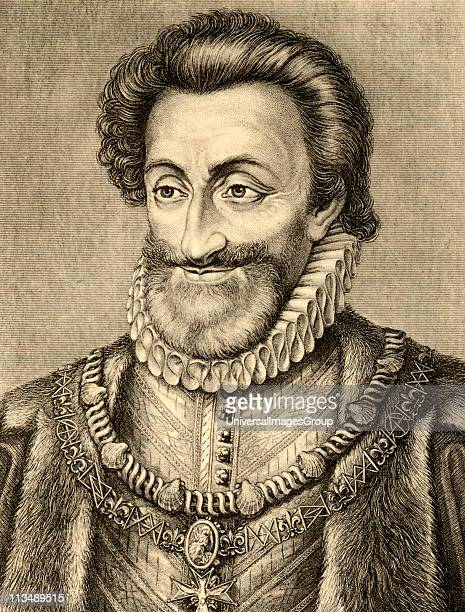 Henry IV aka Henry of Navarre or Bourbon, 1553-1610, King of Navarre1572-89, First Bourbon king of France, 1589-1610. Photo-etching after the...