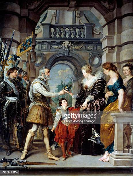 Henry IV leaving for the war in Germany and entrusting the regency of the kingdom to the Queen Marie de Medicis 20 March 1610 Between them the future...