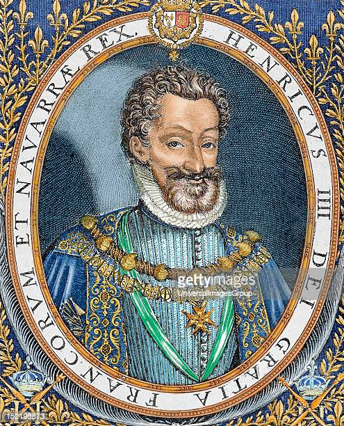 Henry IV of France 'The Great' , King of Navarre in 1562 , king of France in 1589-1610 and head of the Huguenots , Colored engraving.