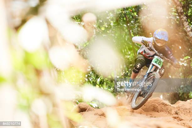 Henry Kerr of Great Britain competes in the Junior Mens Downhill Championship during the 2017 Mountain Bike World Championships on September 10 2017...