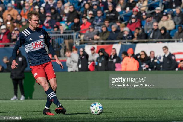 Henry Kessler of New England Revolution passes back to goalkeeper during a game between Chicago Fire and New England Revolution at Gillette Stadium...