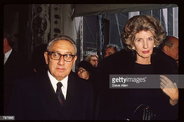 Henry Kissinger and his wife Nancy attend a memorial service for broadcasting executive William Paley November 12 1990 in New York City Paley founded...