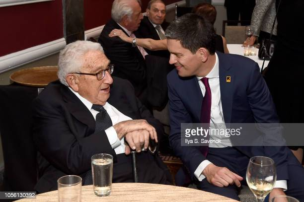 Henry Kissinger and President CEO IRC David Miliband attend the 2018 Rescue Dinner hosted by the IRC at New York Hilton Midtown on November 1 2018 in...