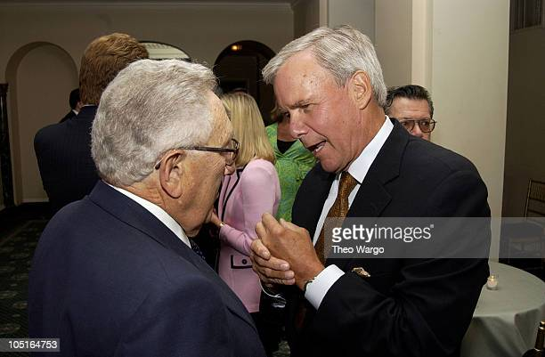 Henry Kissinger and Tom Brokaw during CNBC Hosts Reception to Celebrate Tina Brown and David Faber Primetime Specials at The Georgian Suite in New...