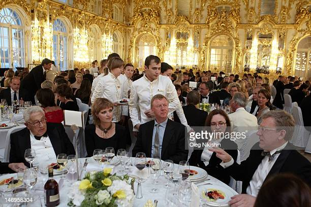 Henry Kissinger Avdotya Smirnova Anatoly Chubais Alexey Kudrin attend the 'Montblanc New Voices Award 2012 Mariinsky Ball' in Ekaterininsky Palace on...