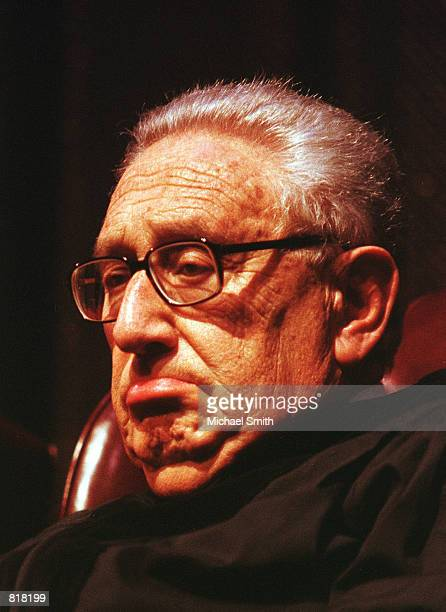 Henry Kissinger former secretary of state addresses the prospects of peace in the Middle East May 4 2000 during a lecture at the University of...