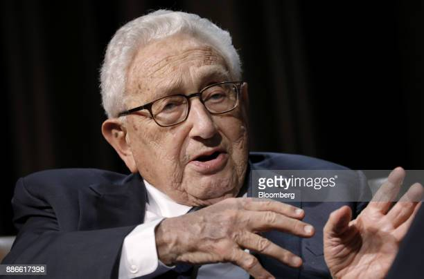 Henry Kissinger former US secretary of state speaks during an Economic Club of New York event in New York US on Tuesday Dec 5 2017 Kissinger is an...