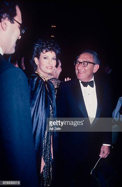 Henry Kissinger with Raquel Welch at a formal event circa 1970 New York