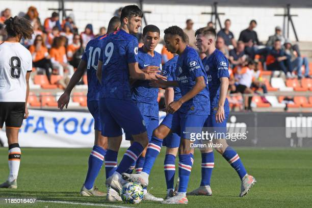 Henry Lawrence of Chelsea celebrates scoring Chelseas first goal during a UEFA Youth League match between Valencia and Chelsea at Antonio Puchades...