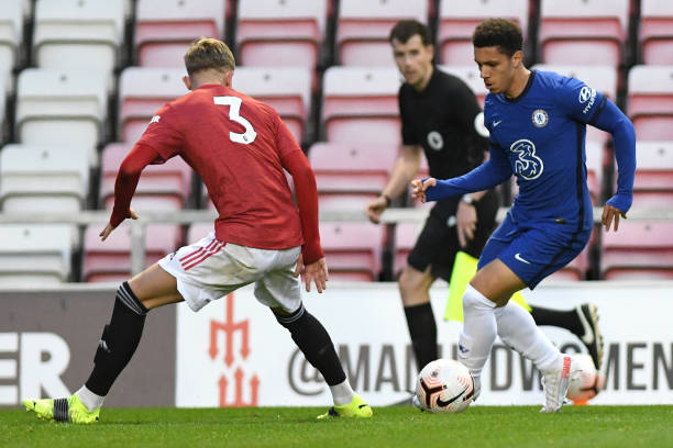 Henry Lawrence of Chelsea during the Premier League 2 match between Manchester United U23 and Chelsea U23 at Leigh Sports Village on April 23, 2021...